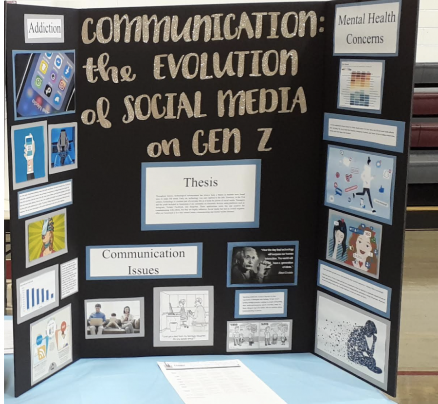 Caleb Dearing and Luke Panzo's exhibit on the effects social media has relative to communication will go to districts.