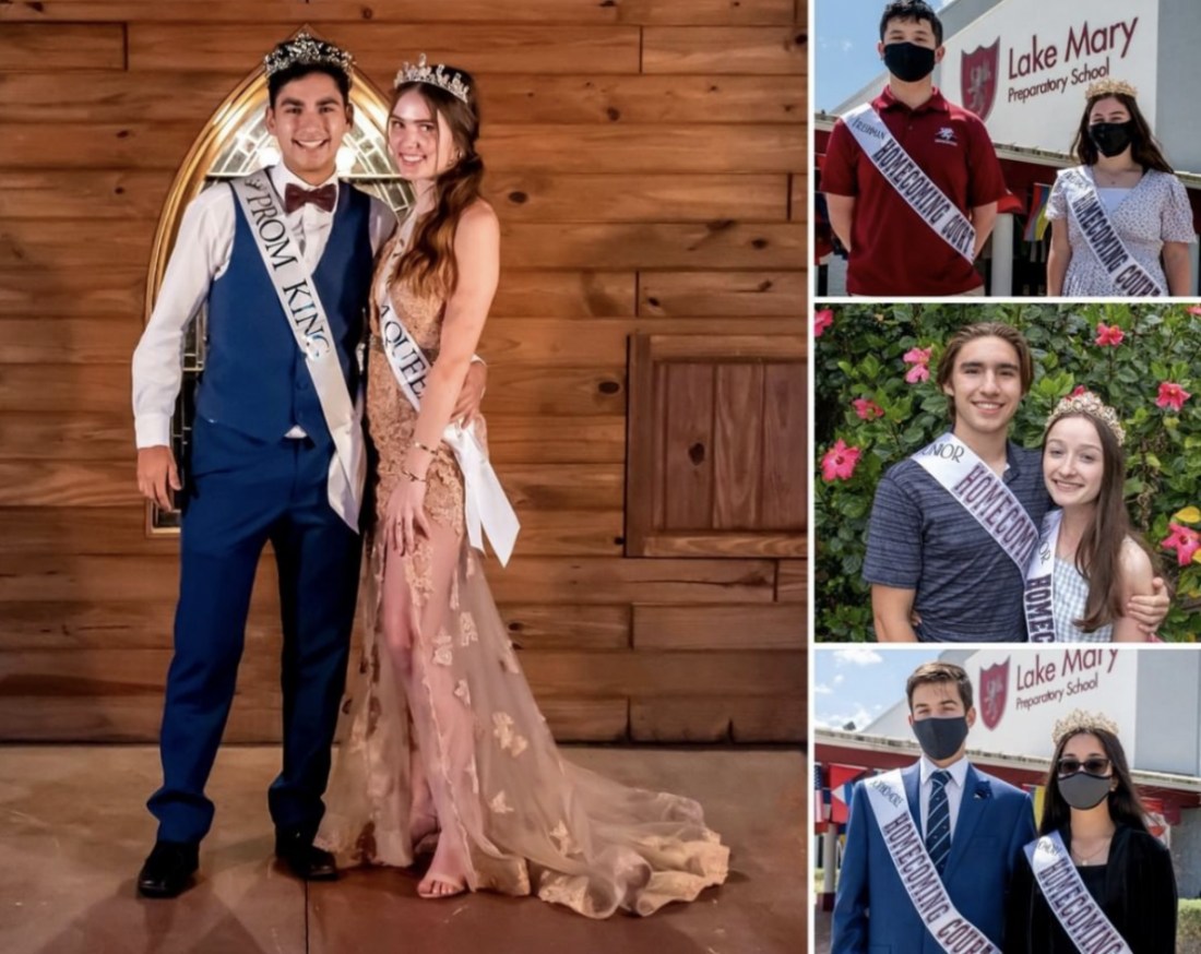 Above: Prom king and queen, Eric Torres and Kate Dawson. Right are the winners of homecoming court: Duncan Brett and Sarah Delvy (top); Luke Panzo and Brianna Letterio (center); Steven Dimtrakakis and Khushi Mehta (bottom).