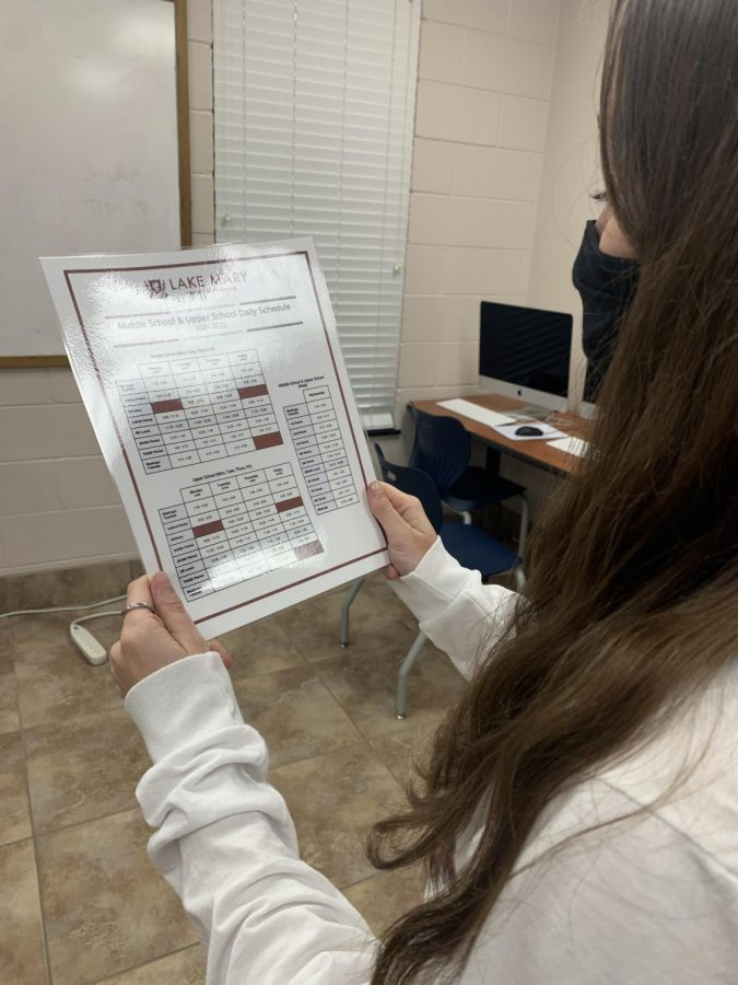Brianna Letterio checks out the new class schedule.
